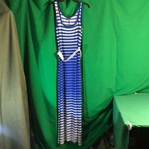 White & Blue Striped Maxi Dress - Size 12 NWT